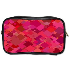 Red Background Pattern Square Toiletries Bags 2 Side
