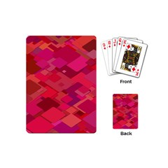 Red Background Pattern Square Playing Cards (mini)