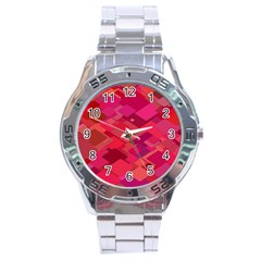 Red Background Pattern Square Stainless Steel Analogue Watch