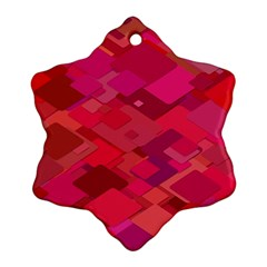 Red Background Pattern Square Snowflake Ornament (two Sides)