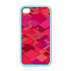 Red Background Pattern Square Apple Iphone 4 Case (color)