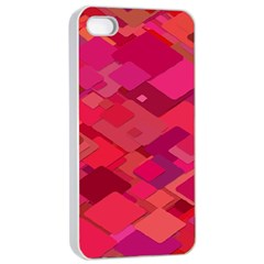 Red Background Pattern Square Apple Iphone 4/4s Seamless Case (white)