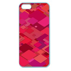 Red Background Pattern Square Apple Seamless Iphone 5 Case (color)