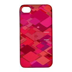 Red Background Pattern Square Apple Iphone 4/4s Hardshell Case With Stand