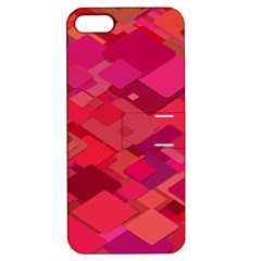 Red Background Pattern Square Apple Iphone 5 Hardshell Case With Stand