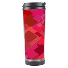 Red Background Pattern Square Travel Tumbler