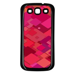 Red Background Pattern Square Samsung Galaxy S3 Back Case (black)