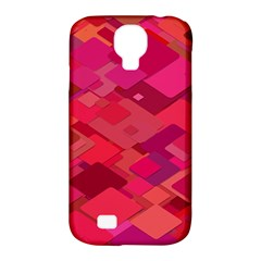 Red Background Pattern Square Samsung Galaxy S4 Classic Hardshell Case (pc+silicone)