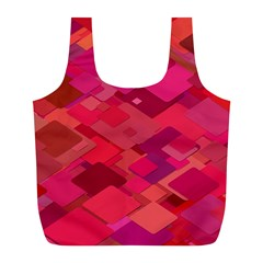 Red Background Pattern Square Full Print Recycle Bags (l)