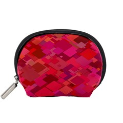 Red Background Pattern Square Accessory Pouches (small)