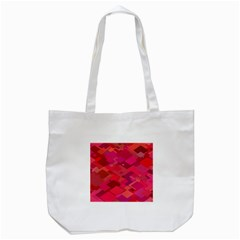 Red Background Pattern Square Tote Bag (white)