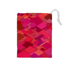 Red Background Pattern Square Drawstring Pouches (medium)
