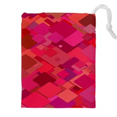 Red Background Pattern Square Drawstring Pouches (xxl)