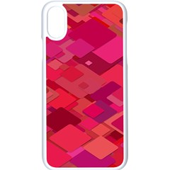 Red Background Pattern Square Apple Iphone X Seamless Case (white)