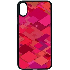 Red Background Pattern Square Apple Iphone X Seamless Case (black)