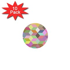 Mosaic Background Cube Pattern 1  Mini Buttons (10 Pack)