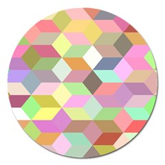 Mosaic Background Cube Pattern Magnet 5  (round)