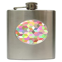 Mosaic Background Cube Pattern Hip Flask (6 Oz)