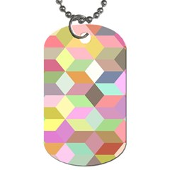 Mosaic Background Cube Pattern Dog Tag (two Sides)