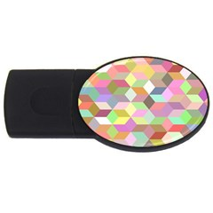 Mosaic Background Cube Pattern Usb Flash Drive Oval (2 Gb)