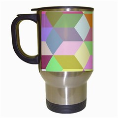 Mosaic Background Cube Pattern Travel Mugs (white)