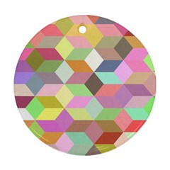 Mosaic Background Cube Pattern Round Ornament (two Sides)