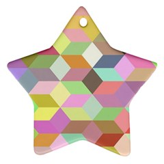 Mosaic Background Cube Pattern Star Ornament (two Sides)