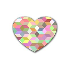Mosaic Background Cube Pattern Rubber Coaster (heart)