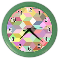 Mosaic Background Cube Pattern Color Wall Clocks