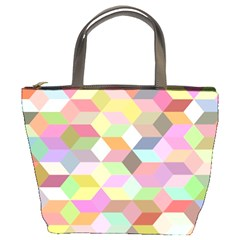 Mosaic Background Cube Pattern Bucket Bags