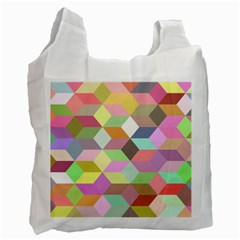 Mosaic Background Cube Pattern Recycle Bag (two Side)