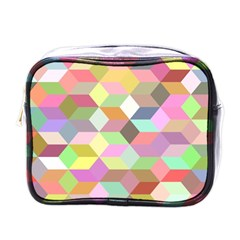 Mosaic Background Cube Pattern Mini Toiletries Bags