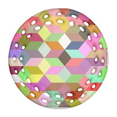 Mosaic Background Cube Pattern Round Filigree Ornament (two Sides)