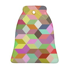 Mosaic Background Cube Pattern Bell Ornament (two Sides)
