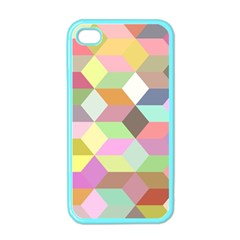 Mosaic Background Cube Pattern Apple Iphone 4 Case (color)