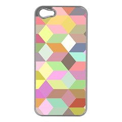 Mosaic Background Cube Pattern Apple Iphone 5 Case (silver)