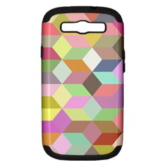 Mosaic Background Cube Pattern Samsung Galaxy S Iii Hardshell Case (pc+silicone)