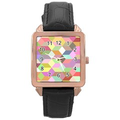 Mosaic Background Cube Pattern Rose Gold Leather Watch
