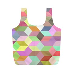 Mosaic Background Cube Pattern Full Print Recycle Bags (m)