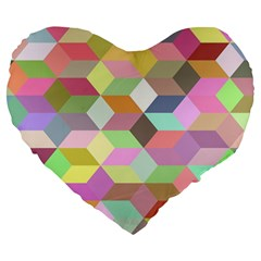 Mosaic Background Cube Pattern Large 19  Premium Flano Heart Shape Cushions