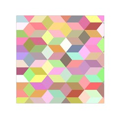 Mosaic Background Cube Pattern Small Satin Scarf (square)