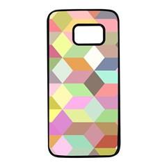 Mosaic Background Cube Pattern Samsung Galaxy S7 Black Seamless Case