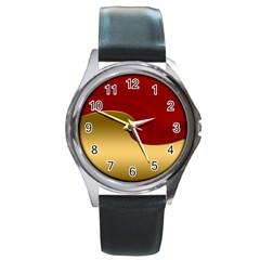Background Festive Wave Round Metal Watch