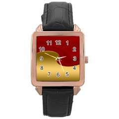 Background Festive Wave Rose Gold Leather Watch