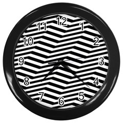 Zig Zag Zigzag Chevron Pattern Wall Clocks (black)