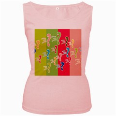 Question Mark Problems Clouds Women s Pink Tank Top