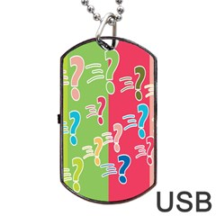 Question Mark Problems Clouds Dog Tag Usb Flash (two Sides)
