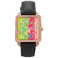 Question Mark Problems Clouds Rose Gold Leather Watch