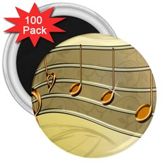 Music Staves Clef Background Image 3  Magnets (100 Pack)
