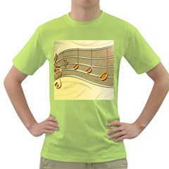 Music Staves Clef Background Image Green T Shirt